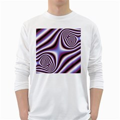 Fractal Background With Curves Created From Checkboard White Long Sleeve T-Shirts