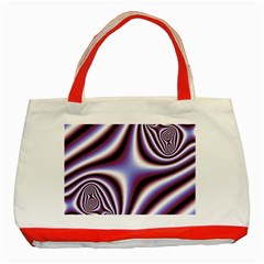 Fractal Background With Curves Created From Checkboard Classic Tote Bag (Red)