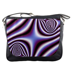 Fractal Background With Curves Created From Checkboard Messenger Bags