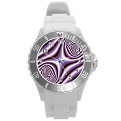Fractal Background With Curves Created From Checkboard Round Plastic Sport Watch (L)