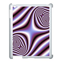 Fractal Background With Curves Created From Checkboard Apple iPad 3/4 Case (White)
