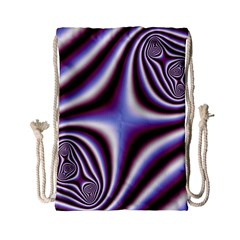 Fractal Background With Curves Created From Checkboard Drawstring Bag (Small)