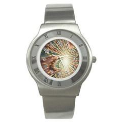 Vortex Glow Abstract Background Stainless Steel Watch
