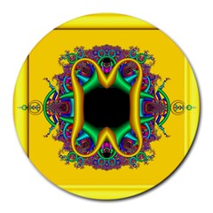 Fractal Rings In 3d Glass Frame Round Mousepads