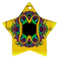 Fractal Rings In 3d Glass Frame Ornament (star)