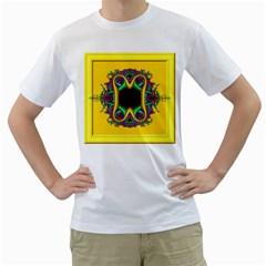 Fractal Rings In 3d Glass Frame Men s T Shirt (white) (two Sided)