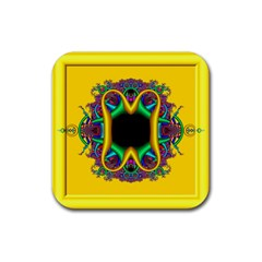Fractal Rings In 3d Glass Frame Rubber Square Coaster (4 pack)