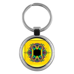 Fractal Rings In 3d Glass Frame Key Chains (Round)