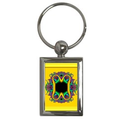 Fractal Rings In 3d Glass Frame Key Chains (rectangle)