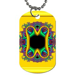 Fractal Rings In 3d Glass Frame Dog Tag (one Side)
