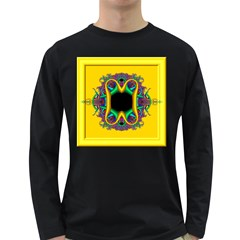 Fractal Rings In 3d Glass Frame Long Sleeve Dark T-Shirts