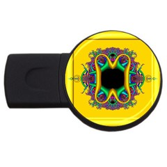 Fractal Rings In 3d Glass Frame USB Flash Drive Round (4 GB)