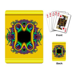 Fractal Rings In 3d Glass Frame Playing Card