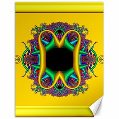 Fractal Rings In 3d Glass Frame Canvas 18  X 24