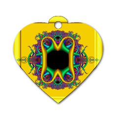Fractal Rings In 3d Glass Frame Dog Tag Heart (one Side)