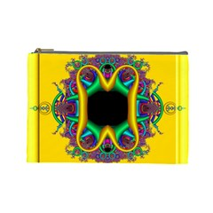 Fractal Rings In 3d Glass Frame Cosmetic Bag (large)