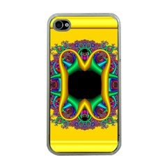 Fractal Rings In 3d Glass Frame Apple iPhone 4 Case (Clear)