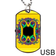 Fractal Rings In 3d Glass Frame Dog Tag USB Flash (One Side)