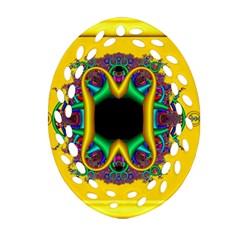 Fractal Rings In 3d Glass Frame Ornament (Oval Filigree)