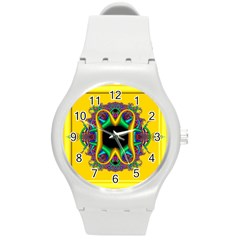 Fractal Rings In 3d Glass Frame Round Plastic Sport Watch (m)