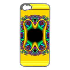 Fractal Rings In 3d Glass Frame Apple Iphone 5 Case (silver)
