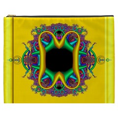 Fractal Rings In 3d Glass Frame Cosmetic Bag (XXXL)