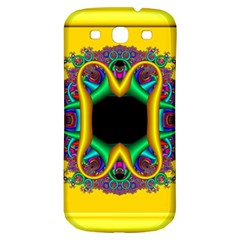 Fractal Rings In 3d Glass Frame Samsung Galaxy S3 S III Classic Hardshell Back Case