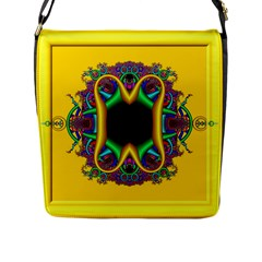 Fractal Rings In 3d Glass Frame Flap Messenger Bag (L)