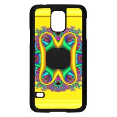 Fractal Rings In 3d Glass Frame Samsung Galaxy S5 Case (Black)