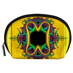 Fractal Rings In 3d Glass Frame Accessory Pouches (Large)