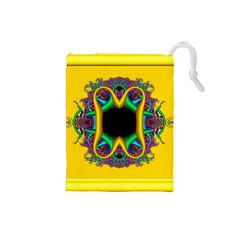 Fractal Rings In 3d Glass Frame Drawstring Pouches (small)