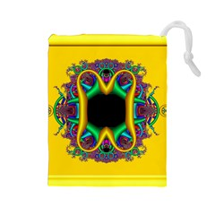 Fractal Rings In 3d Glass Frame Drawstring Pouches (large)