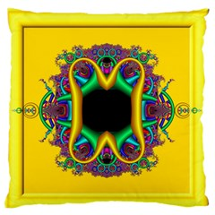 Fractal Rings In 3d Glass Frame Large Flano Cushion Case (Two Sides)