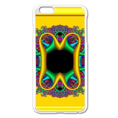 Fractal Rings In 3d Glass Frame Apple iPhone 6 Plus/6S Plus Enamel White Case