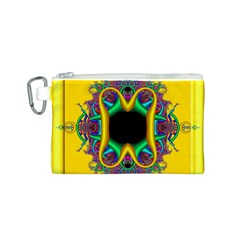 Fractal Rings In 3d Glass Frame Canvas Cosmetic Bag (S)