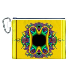 Fractal Rings In 3d Glass Frame Canvas Cosmetic Bag (L)