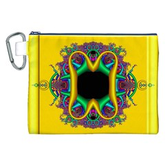 Fractal Rings In 3d Glass Frame Canvas Cosmetic Bag (XXL)