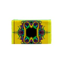 Fractal Rings In 3d Glass Frame Cosmetic Bag (XS)