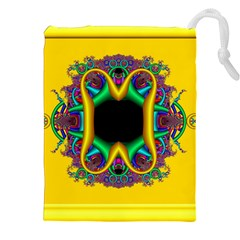 Fractal Rings In 3d Glass Frame Drawstring Pouches (xxl)