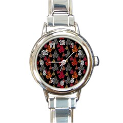 Leaves Pattern Background Round Italian Charm Watch