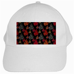 Leaves Pattern Background White Cap