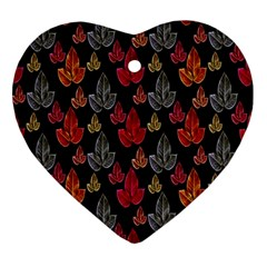 Leaves Pattern Background Ornament (heart)