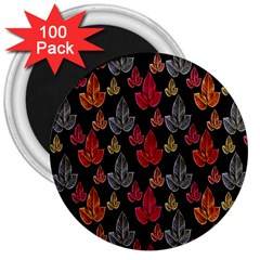 Leaves Pattern Background 3  Magnets (100 Pack)