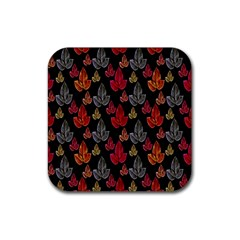 Leaves Pattern Background Rubber Square Coaster (4 pack)