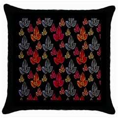 Leaves Pattern Background Throw Pillow Case (black)