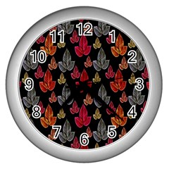 Leaves Pattern Background Wall Clocks (Silver)