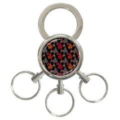 Leaves Pattern Background 3-Ring Key Chains