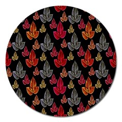 Leaves Pattern Background Magnet 5  (Round)
