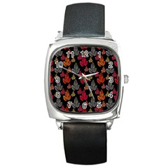 Leaves Pattern Background Square Metal Watch