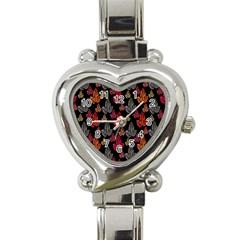 Leaves Pattern Background Heart Italian Charm Watch